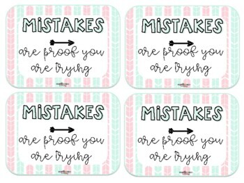 """BTS """"Mistakes are proof you are trying"""" eraser gift tags"""