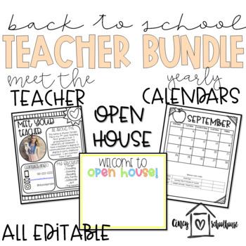 BTS Teacher Bundle | Meet the Teacher Templates | Open House | Calendars