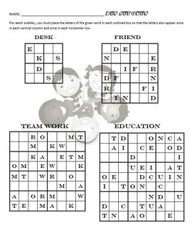 Free Back To School Word Sudoku Puzzles for Middle School