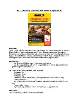 BTT2O Desktop Publishing Flyer Assignment (KICA)