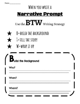 BTW Narrative Writing Graphic Organizer