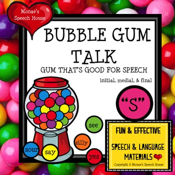 """BUBBLE GUM ARTICULATION SPEECH THERAPY """"S"""""""