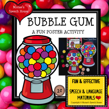 BUBBLE GUM POSTER Speech Therapy PRE-K