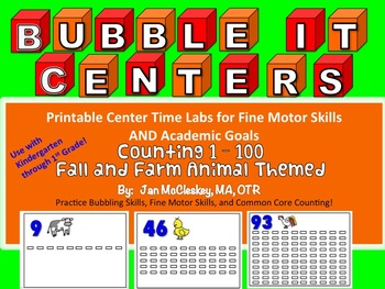 Fine Motor Counting Lab BUBBLE IT!   1 - 100    Fall and Farm Themed