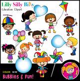 BUBBLES & FUN! - B/W & Color clipart illustration {Lilly S