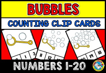 BUBBLES MATH CENTER: BUBBLES COUNTING CLIP CARDS: NUMBERS
