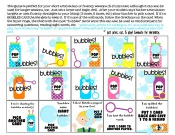 BUBBLES Quick Drill {for articulation or fluency therapy & RTi}