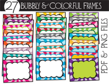 BUBBLY COLORFUL FRAMES {27 choices!}