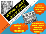 BUBONIC PLAGUE CHOICE BOARD WITH HANDOUTS & CCLS RUBRIC
