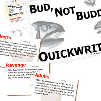 BUD, NOT BUDDY Journal - Quickwrite Writing Prompts (Created for Digital)