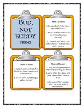 Christopher Paul Curtis BUD, NOT BUDDY - THEME Discussion Cards