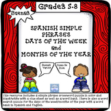 BUENAS: Phrases, Days of the Week,Months of the Year Puzzles Grades 5-8