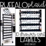 BUFFALO PLAID - Editable 10 Drawer Cart Labels