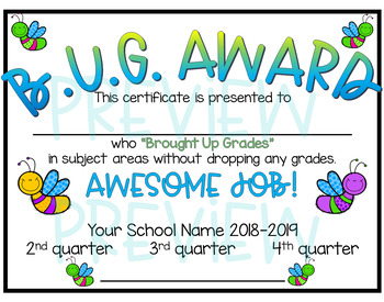 BUG Awards (Brought Up Grades) Award FREEBIE