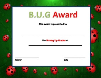 BUG Certificate (bringing up grades)