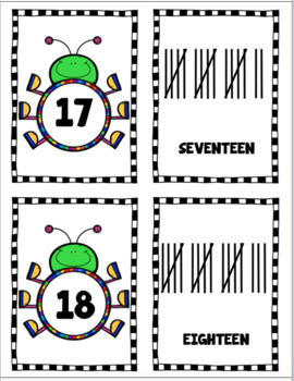 BUG NUMBERS: Recognition, Sequencing, and Tally Marks (0 to 20)