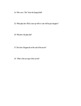 BUG'S LIFE Movie Questions