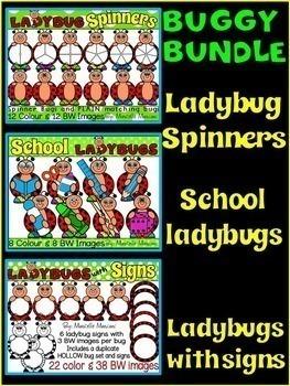 BUGGY MANIA- LADYBUG  CLIP ART BUNDLE (100 IMAGES) COMMERCIAL USE