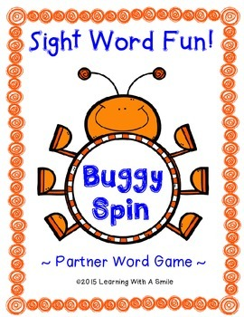 Sight Word Partner Game NO PREP  Literacy Center BUGGY SPIN