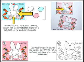 BUNNY PIN THE TAIL ARTICULATION  SPEECH  worksheets LOW PREP NO PREP
