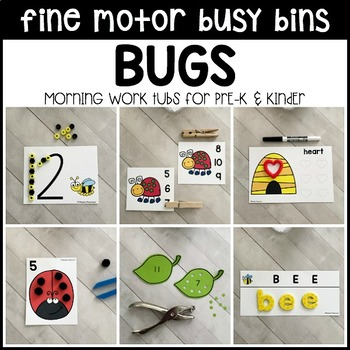 BUGS Fine Motor Busy Bins for Spring - morning work tubs (Pre-K & Kinder)