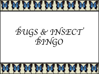 BUGS & INSECTS BINGO CARDS AND MATCHING CHIPS