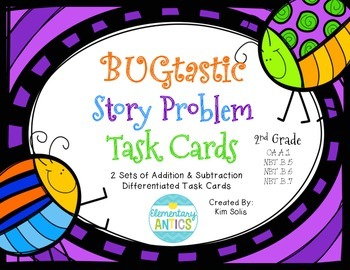 BUGtastic Story Problem Task Cards (Addition, Subtraction, Multi-step)
