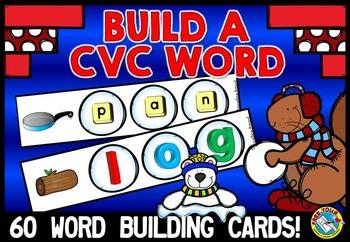 WINTER ACTIVITY KINDERGARTEN (CVC WORD BUILDING CARDS) MAGNETIC LETTER WORD MAKE