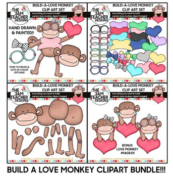 BUILD A LOVE MONKEY CLIP ART SET