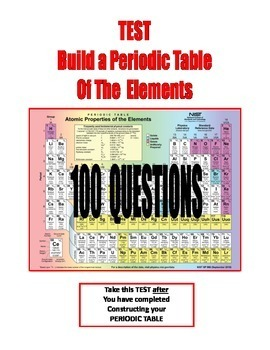 SALE . . . $8.50 . . . BUILD A PERIODIC TABLE - TEST 100-QUESTIONS