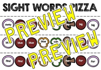 PIZZA SIGHT WORD CENTER: SIGHT WORDS RECOGNITION GAME: SIGHT WORDS KINDERGARTEN