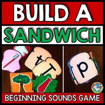 BEGINNING SOUNDS GAME (BUILD A SANDWICH ALPHABET GAME) ALPHABET CENTERS