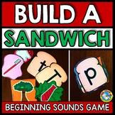 BEGINNING SOUNDS CENTER SORT PICTURE ACTIVITY KINDERGARTEN BUILD A SANDWICH GAME
