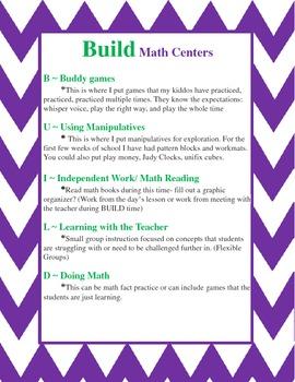 BUILD Math Center Explanation Poster