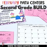 BUILD  February Math Centers for Second Grade