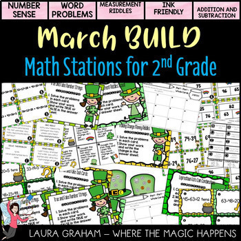 BUILD Math Centers for 2nd grade for the WHOLE YEAR  Bundle