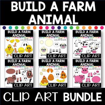 BUILD YOUR OWN FARM ANIMALS Clip Art BUNDLE