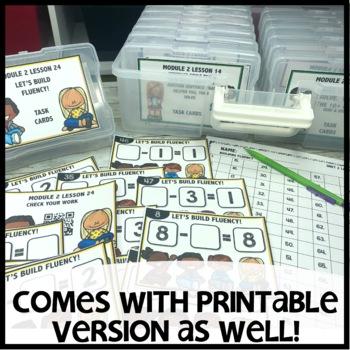 BUILDING FLUENCY (subtraction)  DIGITAL TASK CARDS | PRINTABLE TASK CARDS
