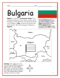BULGARIA - Printable handout with simple map and flag