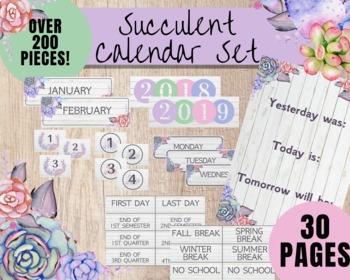 BULLETIN BOARD CALENDAR | Watercolor Succulent Calendar Set