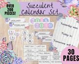 BULLETIN BOARD CALENDAR   Watercolor Succulent Calendar Set