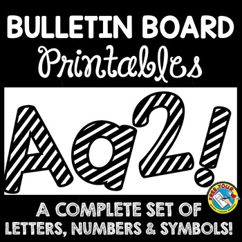 image regarding Poster Board Letters Printable called BULLETIN BOARD LETTERS BLACK AND WHITE CLASSROOM DECOR PRINTABLE