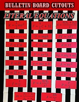 BULLETIN BOARD or MATH CENTERS - Literal Equations