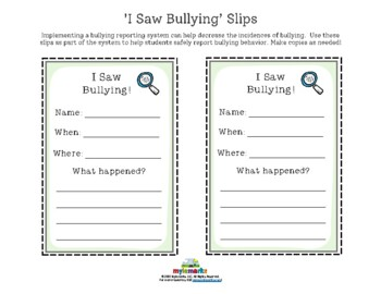 BULLYING REPORTING SHEETS