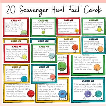 BULLYING {SCAVENGER HUNT FACT CARDS, POSTER REFLECTIONS, BADGES, BANNER}