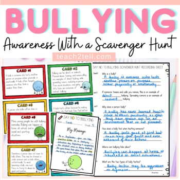 BULLYING {SCAVENGER HUNT FACT CARDS, POSTER REFLECTIONS, B