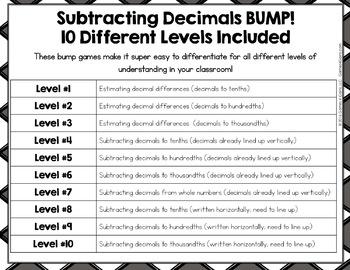 BUMP! Adding and Subtracting Decimals Games Bundle {5.NBT.7}