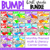 BUMP Games Monthly Math and Literacy First Grade   BUNDLE
