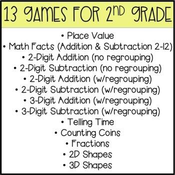 2nd Grade Math Games BUMP Bundle