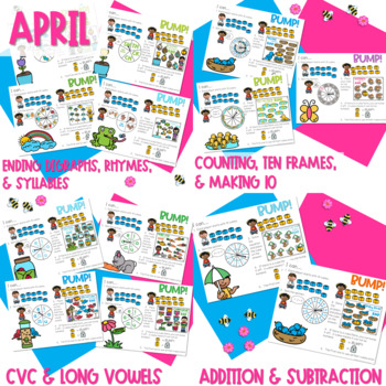 BUMP Games Monthly Math and Literacy GROWING bundle
